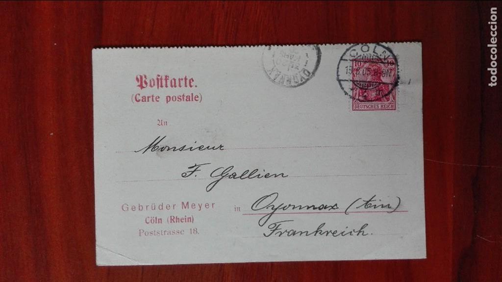 ALEMANIA ENTEROPOSTAL 1905 COLN RHEIN (Sellos - Extranjero - Entero postales)