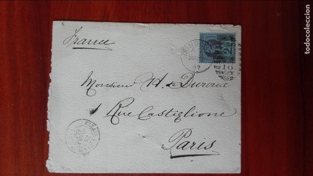 FRANCIA CARTA 1887 PARÍS (Sellos - Extranjero - Entero postales)