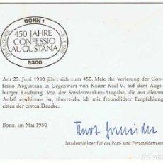 Sellos: TARJETA DOBLE CONMEMORATIVA PRIMER DÍA 450 JAHRE CONFESSIO AUGUSTANA. ALEMANIA 1980. Lote 96946707