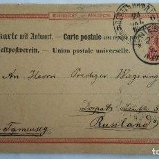 Sellos: TARJETA ENTERO POSTAL DOBLE, CIRCULADA DE NIESKI A DORPAT - RUPLAND RUSIA, AÑO 1890. Lote 104546183