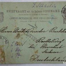 Sellos: TARJETA ENTERO POSTAL , CIRCULADA DE GUAYANA HOLANDESA A SACHSEN-ALEMANIA , AÑO 1893. Lote 104546475