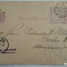 Sellos: TARJETA ENTERO POSTAL , CIRCULADA DE HOLANDA-AMSTERDAM A BERLIN-ALEMANIA , AÑO 1889. Lote 104547063