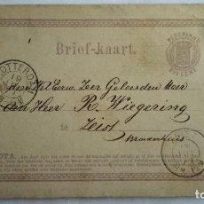 Sellos: TARJETA ENTERO POSTAL , CIRCULADA DE HOLANDA-ROTTERDAM A HOLANDA ZEIST , AÑO 1889. Lote 104547287