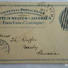 Sellos: TARJETA ENTERO POSTAL , CIRCULADA DE EE.UU-BETHLEHEM A NIESKY-PRUSIA, AÑO 1895. Lote 104548191