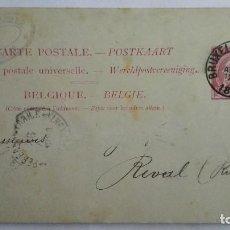 Sellos: TARJETA ENTERO POSTAL , CIRCULADO DE BELGICA-BRUSELAS A TALLIN-ESTONIA, AÑO 1890 . Lote 104549599