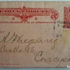 Sellos: CARTA TARJETA ENTERO POSTAL , CIRCULADA DE CHILE-VALPARAISO A CONCEPCION, AÑO 1908. Lote 104551639