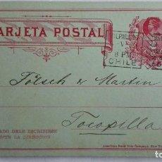 Sellos: TARJETA ENTERO POSTAL , CIRCULADA DE CHILE-VALPARAISO A TOCOPILLA, AÑO 1899. Lote 104551935