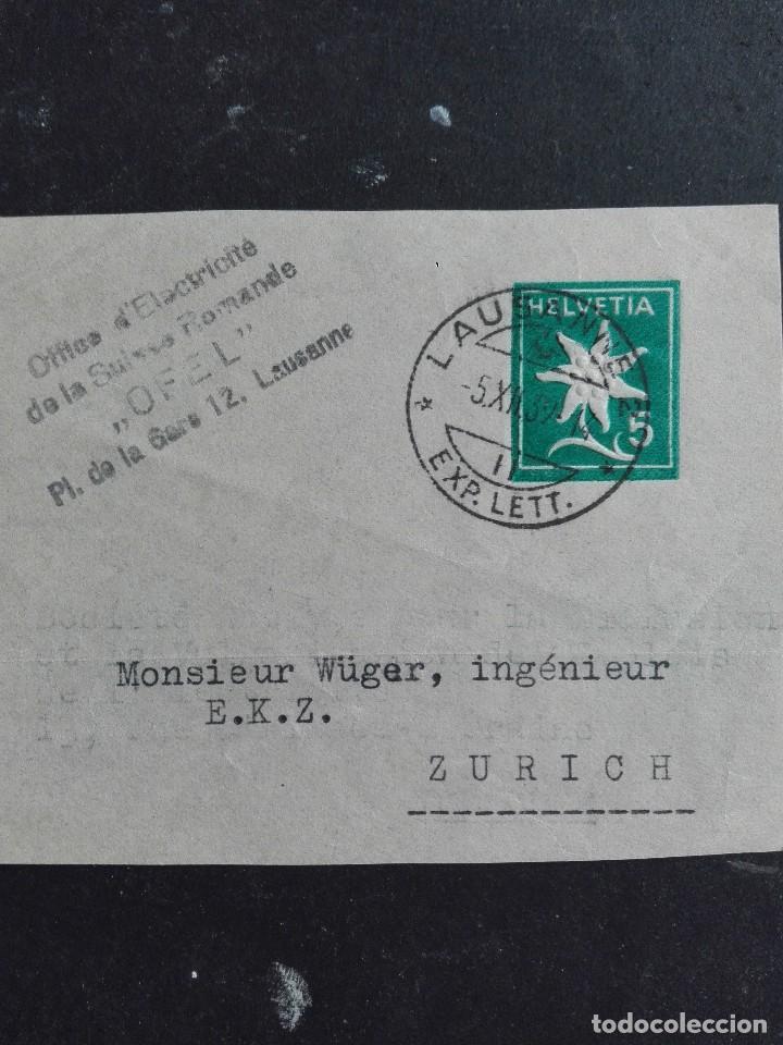 ENTERO POSTAL CIRCULADO DE SUIZA (Sellos - Extranjero - Entero postales)
