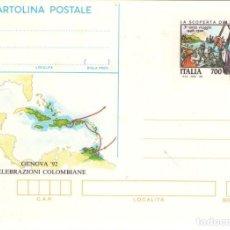 Sellos: ENTERO POSTAL DE ITALIA, TERCER VIAJE DE CRISTOBAL COLON.. Lote 133622338