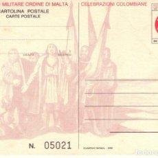 Sellos: ENTERO POSTAL DE ITALIA, ORDEN MILITAR SOBERANA DE MALTA. CRISTOBAL COLON.. Lote 133623666
