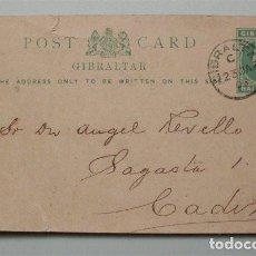 Sellos: ENTERO POSTAL DE GIBRALTAR ENVIADO A CÁDIZ. FECHADO EN 1903. HALF PENNY. Lote 139672826