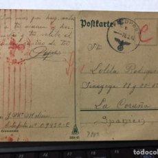Sellos: ENTERO POSTAL ALEMANA CIRCULADA A CORUÑA CON MATASELLOS NAZI DE 1942. Lote 143003486