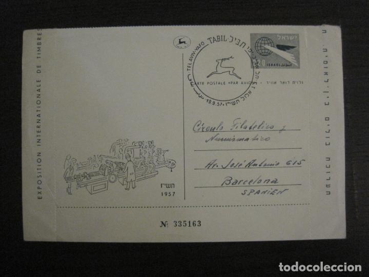 TEL AVIV-EXPOSICION INTERNACIONAL DE SELLOS-AÑO 1957-VER FOTOS-(V-16.395) (Sellos - Extranjero - Entero postales)