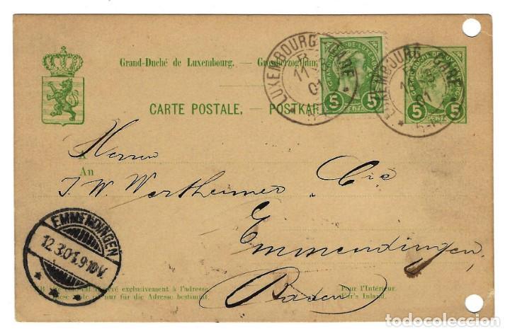1895 LUXEMBURGO ENTERO POSTAL CIRCULADA EN 1901 DE LUXEMBOURG GARE A EMMENDINGEN ALEMANIA 5 + 5 (Sellos - Extranjero - Entero postales)