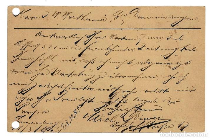 Sellos: 1895 LUXEMBURGO ENTERO POSTAL CIRCULADA EN 1901 DE LUXEMBOURG GARE A EMMENDINGEN ALEMANIA 5 + 5 - Foto 2 - 169074952