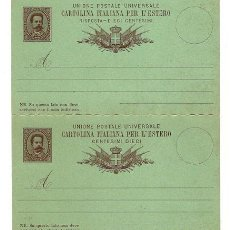 Sellos: ITALIA ENTERO POSTAL CARTOLINA ITALIANA PER L'ESTERO CON RISPOSTA 10 + 10 CENT NUEVA REY UMBERTO I. Lote 169084348