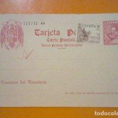 Francobolli: ENTERO POSTAL SIN CIRCULAR EDIFIL 84 CERVANTES 45 CTS CON SELLO 5 CTS PEGADO ALGUNA DOBLEZ LATERAL. Lote 175996328