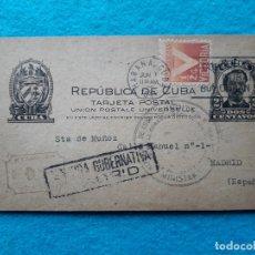 Sellos: ENTERO POSTAL ANTIGUO DE CUBA. CENSURA GUBERNATIVA MADRID. AGOSTO DE 1944.. Lote 177199159