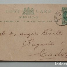 Sellos: ENTERO POSTAL DE GIBRALTAR ENVIADO A CÁDIZ. FECHADO EN 1903. HALF PENNY. Lote 177328764