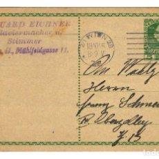 Sellos: AUSTRIA ENTERO POSTAL CORRESPONDENZ KART TARJETA 5 HELLER - MICHEL 1908 - CIRCULADA VIENA 1915. Lote 179256308