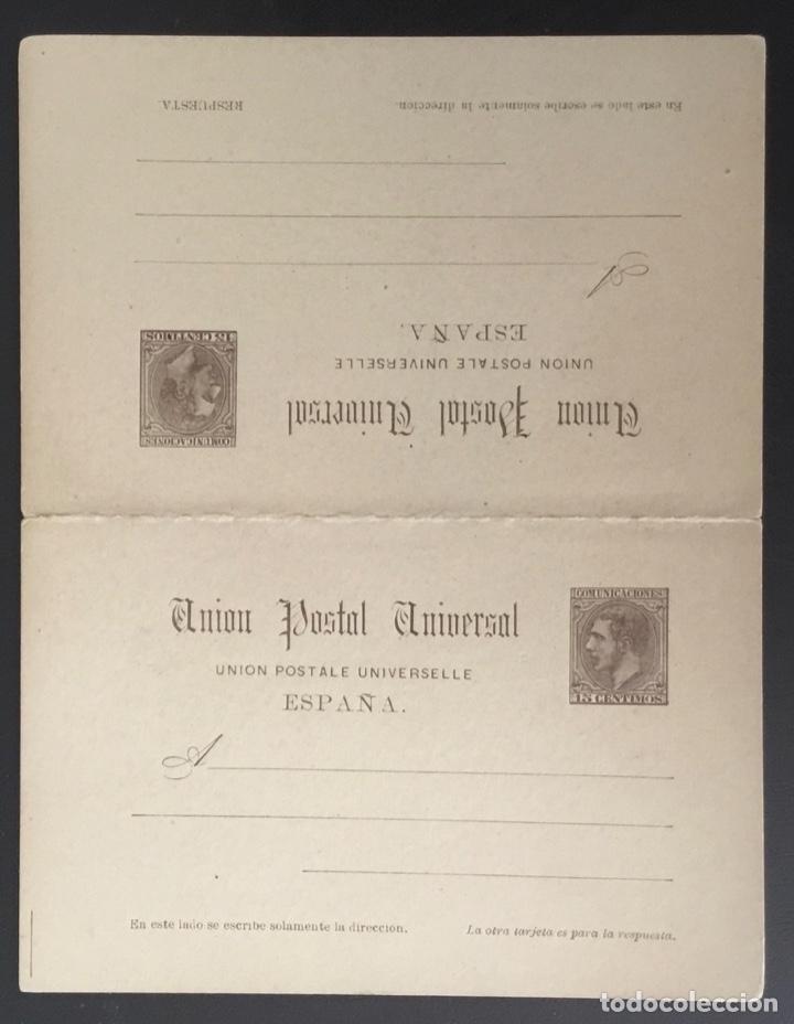 1884-ESPAÑA ENTERO POSTAL (*)EP18. 15 CTS + 15 CTS CASTAÑO 4ª SERIE. - ALFONSO XII - (Sellos - Extranjero - Entero postales)