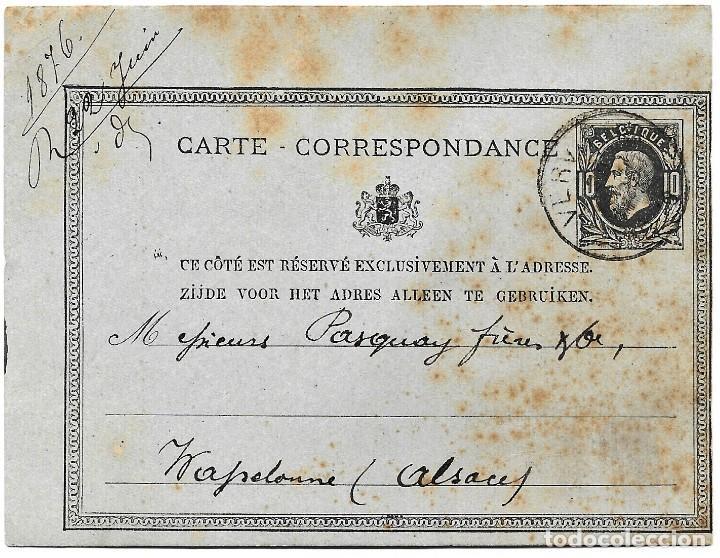 ENTERO POSTAL DE BÉLGICA AÑO 1876 CIRCULADO (Sellos - Extranjero - Entero postales)