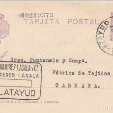 Sellos: ENTERO POSTAL NUM. 57 NUMERACIÓN DESPLAZADA DE ALMACENES LASALA EN CALATAYUD. Lote 198628371