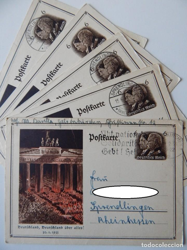 NAZISMO / 5 ENTEROS POSTALES IGUALES ALEMANIA 1933 - DEUTSCHLAND, DEUTSCHLAND ÜBER ALLES! 30.1.1933 (Sellos - Extranjero - Entero postales)