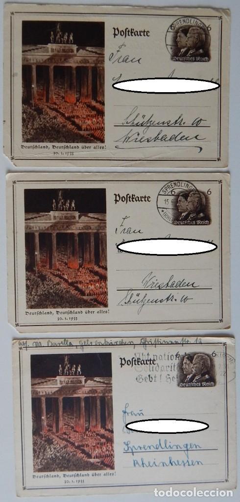 Sellos: Nazismo / 5 Enteros postales iguales Alemania 1933 - Deutschland, Deutschland über alles! 30.1.1933 - Foto 2 - 204828853