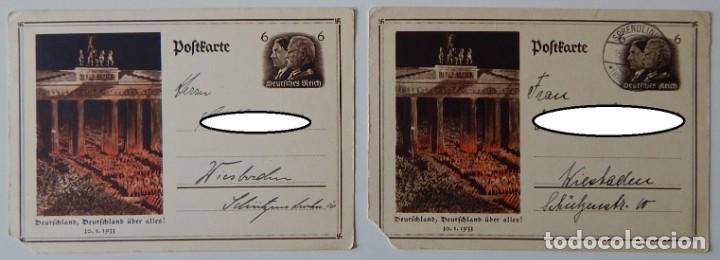 Sellos: Nazismo / 5 Enteros postales iguales Alemania 1933 - Deutschland, Deutschland über alles! 30.1.1933 - Foto 4 - 204828853