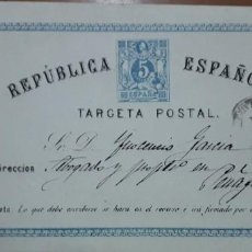 Sellos: SELLOS ESPAÑA 1873/1874 TARJETAS POSTALES NUMERO 5 DE IDA CIRCULADA V.CAT, 16.5€. Lote 236185500