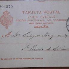 Sellos: SELLOS ESPAÑA 1902 TARJETAS POSTALES NUMERO 42 DE IDA CIRCULADA V.CAT, 16€. Lote 236186880