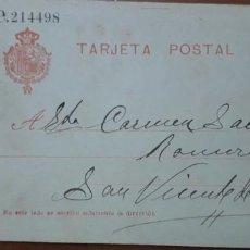 Sellos: SELLOS ESPAÑA 1910 TARJETAS POSTALES NUMERO 49 CIRCULADA. Lote 236188940