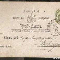 Timbres: WÜRTTEMBERG. 1879. ENTERO POSTAL STUTTGART-ESSLINGEN. Lote 236891395