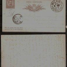 Sellos: ITALIA. 1887. ENTERO POSTAL. Lote 253793570