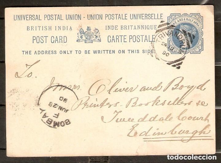 GRAN BRETAÑA. ANTIGUAS COLONIAS INDIA, 1890. ENTERO POSTAL (Sellos - Extranjero - Entero postales)