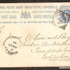 Sellos: GRAN BRETAÑA. ANTIGUAS COLONIAS INDIA, 1890. ENTERO POSTAL. Lote 253967205