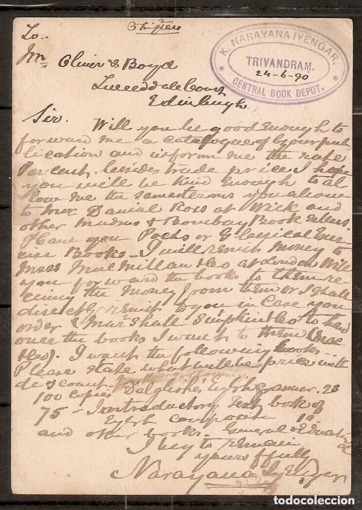 Sellos: GRAN BRETAÑA. ANTIGUAS COLONIAS INDIA, 1890. ENTERO POSTAL - Foto 2 - 253967205