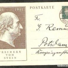 Sellos: ALEMANIA IMPERIO. 1931. ENTERO POSTAL. MI P193. Lote 254893595