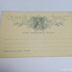 Selos: ENTERO POSTAL. PORTUGAL. 5 REIS. INDIA PORTUGUESA. REPÚBLICA. CON RESPUESTA PAGADA. VER FOTOS. Lote 261155395