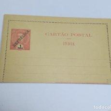 Selos: CARTA POSTAL. PORTUGAL. 1 TANGA. INDIA PORTUGUESA. SOBRECARGA REPÚBLICA. VER FOTOS. Lote 261155800