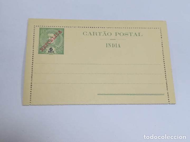 CARTA POSTAL. PORTUGAL. 6 REIS. INDIA PORTUGUESA. SOBRECARGA REPÚBLICA. VER FOTOS (Sellos - Extranjero - Entero postales)