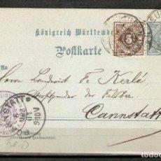 Sellos: WURTTEMBERG. 1904. ENTERO POSTAL.. Lote 263020000