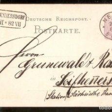 Sellos: ALEMANIA IMPERIO. POSTKARTE. 1882. NEISSE. Lote 263027135