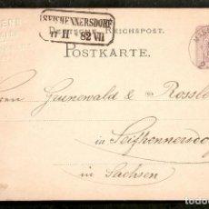 Sellos: ALEMANIA IMPERIO. POSTKARTE. 1888. MASMUNSTER. Lote 263027770