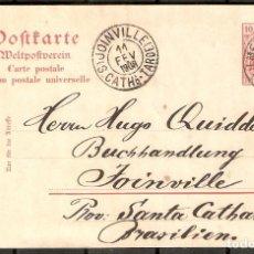 Sellos: ALEMANIA IMPERIO. 1908. ILMENAU A JOINVILLE ( BRASIL). Lote 269453278