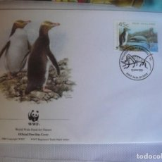 Sellos: SOBRE PRIMER DIA DE NUEVA ZELANDA 1993 PINGUINOS Y OTROS ANIMALES MARINOS. Lote 276503488