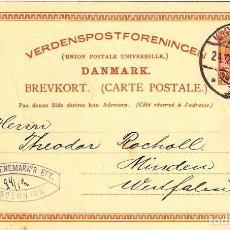 Sellos: ENTERO POSTAL ANTIGUO DE DINAMARCA. AÑO 1906. Lote 277285893