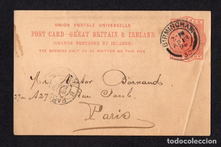 BIRMINGHAM 1898, ENTERO POSTAL A PARIS (Sellos - Extranjero - Entero postales)