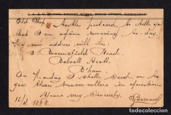 Sellos: BIRMINGHAM 1898, ENTERO POSTAL A PARIS - Foto 2 - 285343513